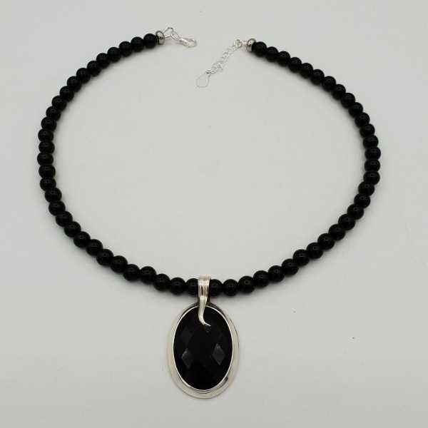 Silver necklace with black Onyx and oval pendant set with black Onyx