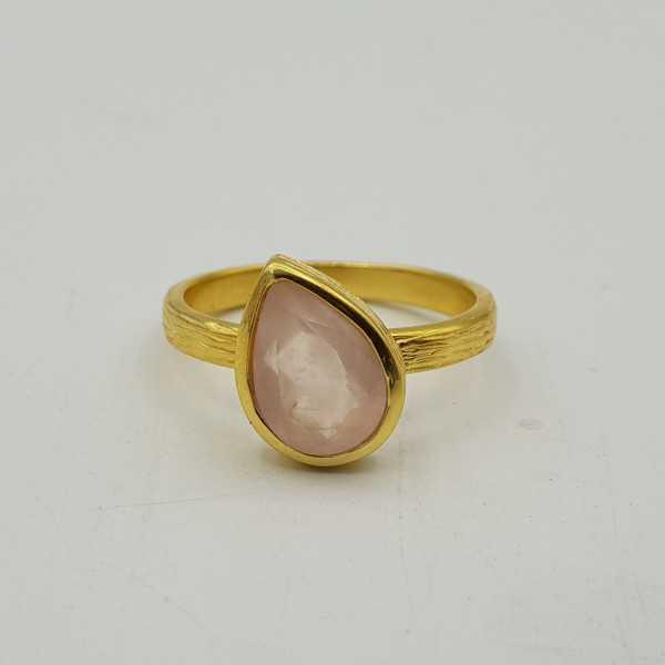 Goud vergulde ring gezet met Rozenkwarts 18 mm