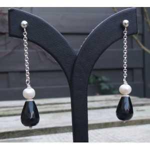 Silber lange Ohrringe mit Perlmutt und Onyx briolet