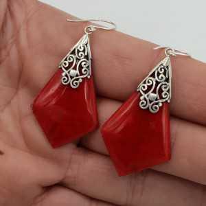 Zilveren oorbellen met Koraal
