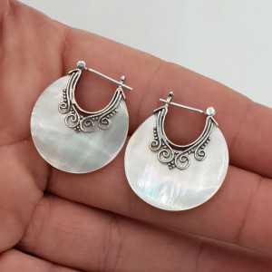 Silber Kreolen Perlmutt