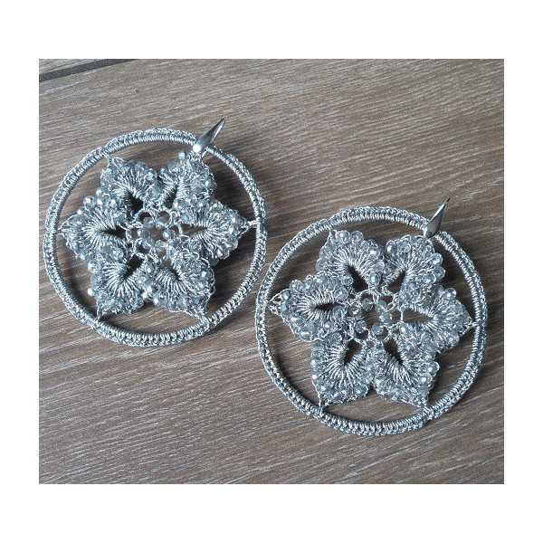 Silver earrings big silver circle of silk thread and crystals