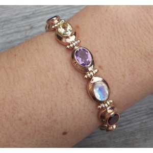 Vergulde armband met ovale facet multi edelstenen