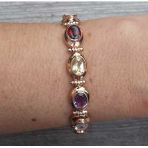 Gold plated bracelet with oval facet multi gems