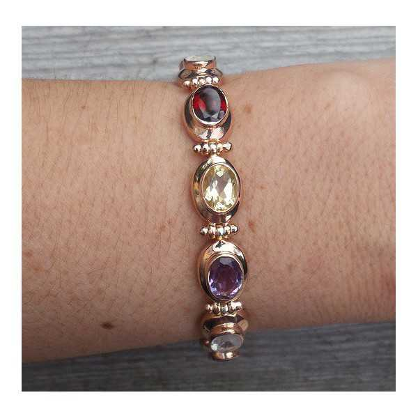 Vergoldete Armband mit ovaler Facette multi Edelsteine