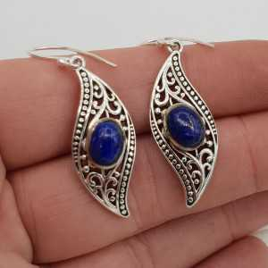 Silber Ohrringe-set mit ovalen Lapis Lazuli