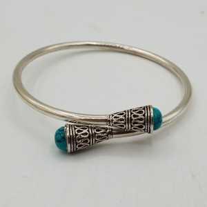 Zilveren bangle armband met Turkoois