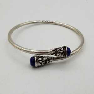 Zilveren bangle armband met Lapis Lazuli
