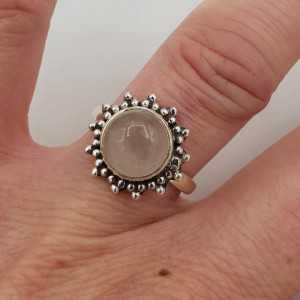 Zilveren ring met ronde Rozenkwarts 17 mm