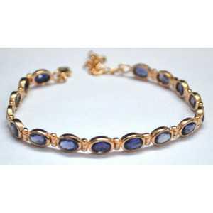Gold plated bracelet set with facet cut Ioliet