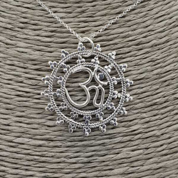 Silver earrings with Ohm sign pendant