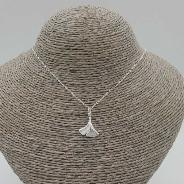 Silver necklace with Ginko leaf pendant