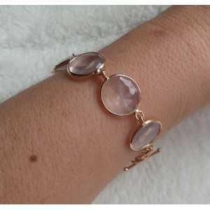 Vergoldete Armband mit facettierten Rosenquarz