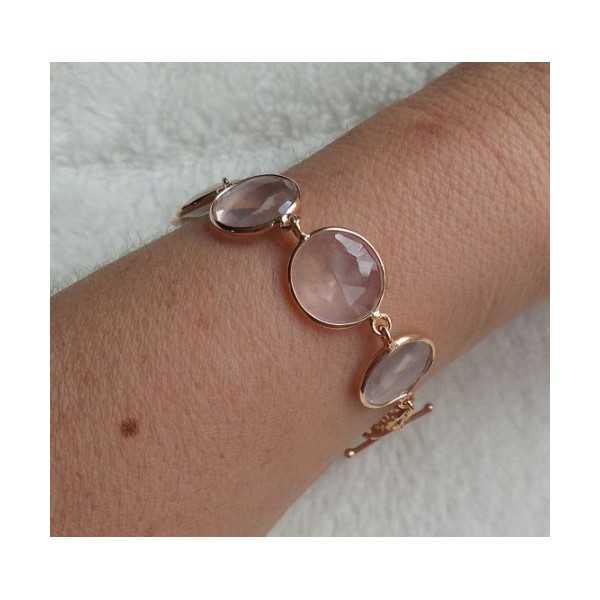 Gold plated bracelet set with faceted rose quartz