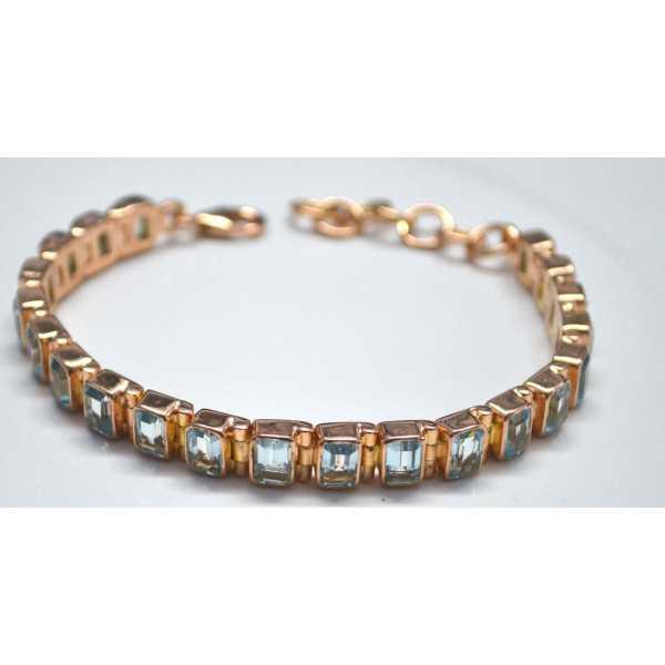 Gold überzog Armband-set mit blauen Topase