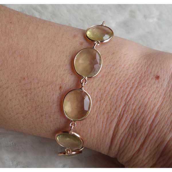 Gold plated bracelet set with Lemon Topaz