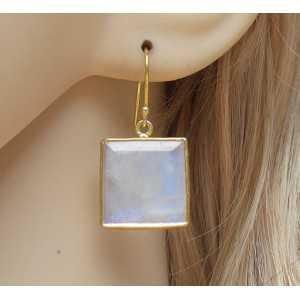Vergulde oorbellen met vierkante facet Maansteen