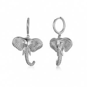 Sterling Silber Kreolen mit Elefanten-Anhänger