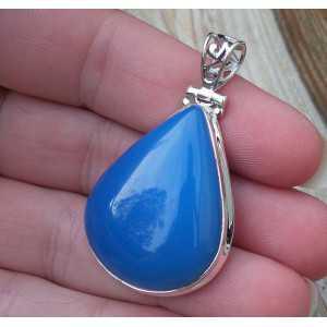 Silber Anhänger set mit eine Ovale Form blau Chalcedon
