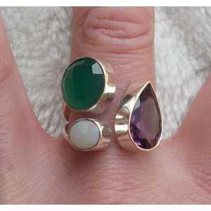Silber ring set mit Amethyst, grüner Onyx und Opal 18,5 mm