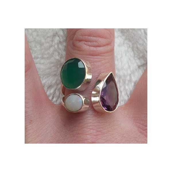 Silver ring set with Amethyst, green Onyx and Opal 18.5 mm