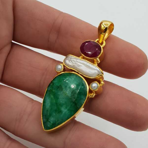 Gold plated pendant with Ruby, Peridot and Emerald