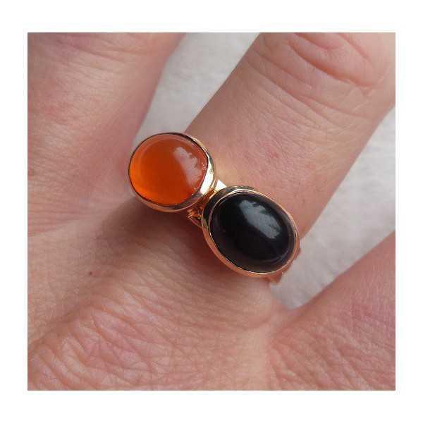 Vergoldete Ringe mit Labradorit und Onyx (19 mm)