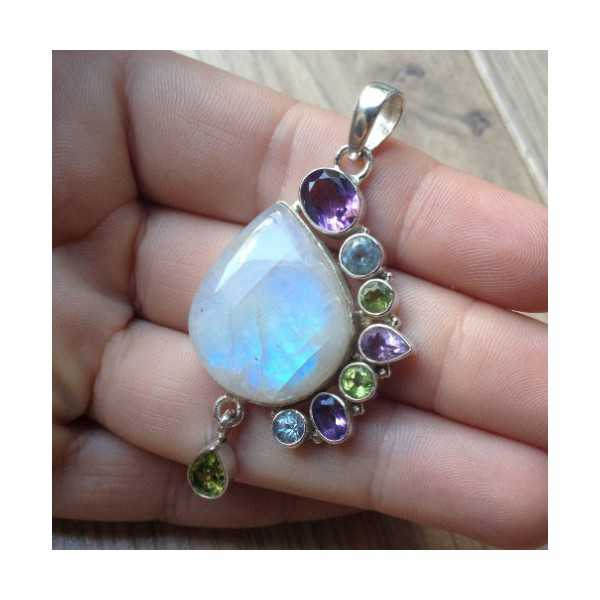 Silver pendant set with Moonstone, Topaz, Peridot and Amethyst