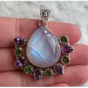 Silver pendant with rainbow Moonstone, Amethyst and Peridot