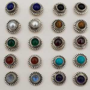 Zilveren oorknopjes ronde steen naar keuze