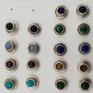 Silber oorknopjes mit einem Runden Stein Ihrer Wahl