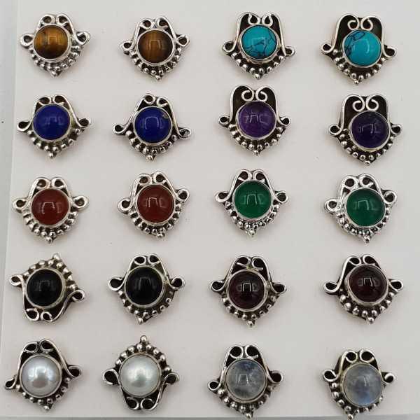 Zilveren oorknopjes gezet met ronde steen naar keuze