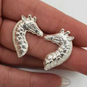 Zilveren Giraffe oorbellen