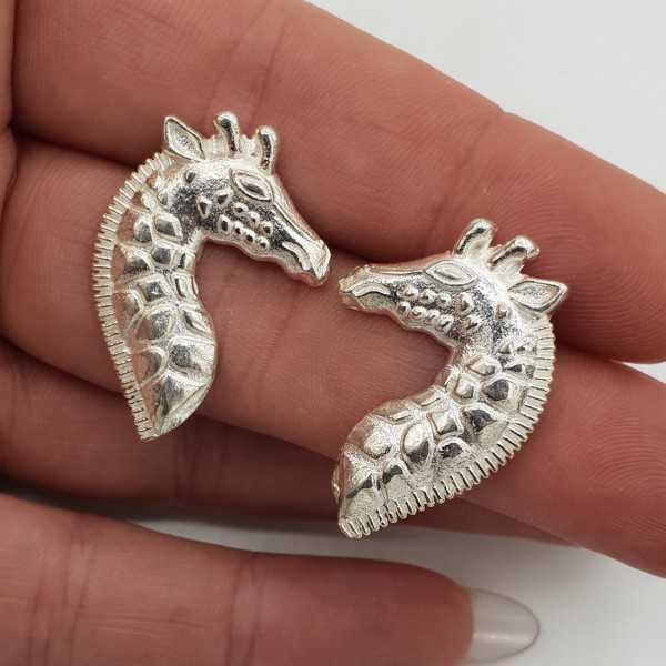 Silver Giraffe drop earrings