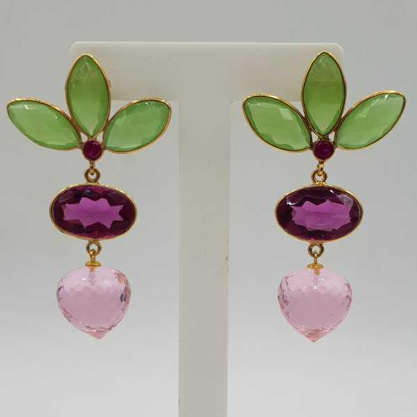 Goud vergulde oorbellen groen Chalcedoon roze Toermalijn quartz en roze Topaas