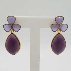 Gold-plated drop earrings with Lavender Chalcedony and Amethyst