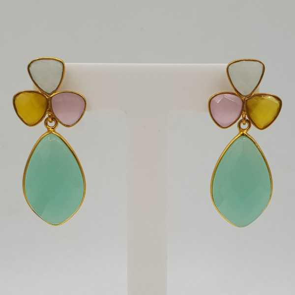 Gold-plated drop earrings with yellow, white, and aqua Chalcedony