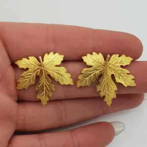 Gold-plated leaf drop earrings