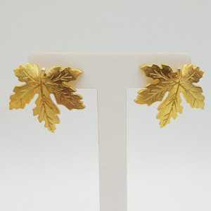 Goud vergulde blad oorbellen