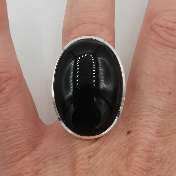 Zilveren ring met grote brede ovale zwarte Onyx 17 mm