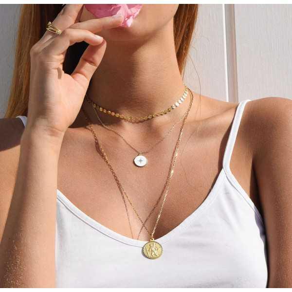 Vergoldete Halskette mit weißen Noordster-Anhänger