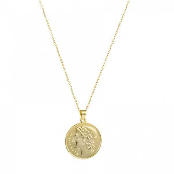 Vergoldete Halskette mit einer römischen Münze Anhänger