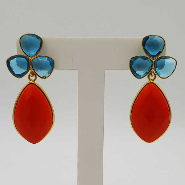 Gold-plated drop earrings with Topaz, blue quartz, and Garnet and red quartz
