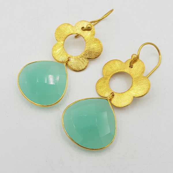 Gold-plated drop earrings with a flower and aqua Chalcedony