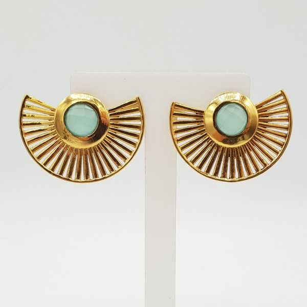 Gold-plated waairer drop earrings with aqua Chalcedony