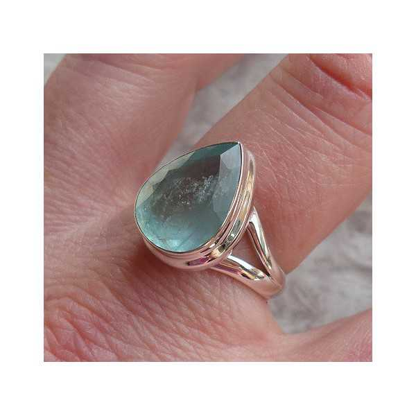 Silver ring set with oval shape faceted Aquamarine size 18 mm