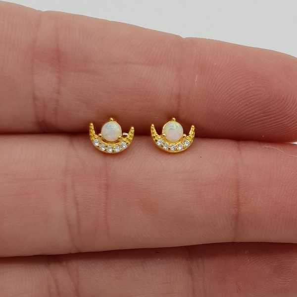 Goud vergulde oorknopjes met Opaal en Zirkonia