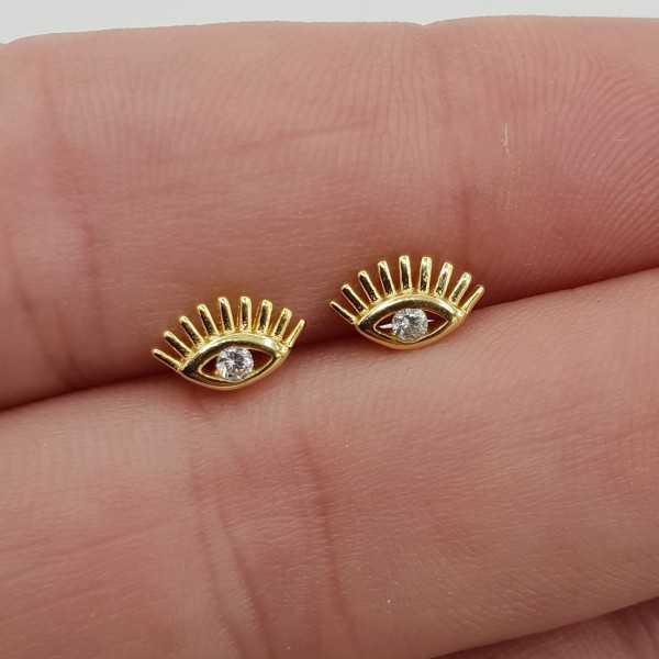 Goud vergulde oorknopjes oog met Zirkonia
