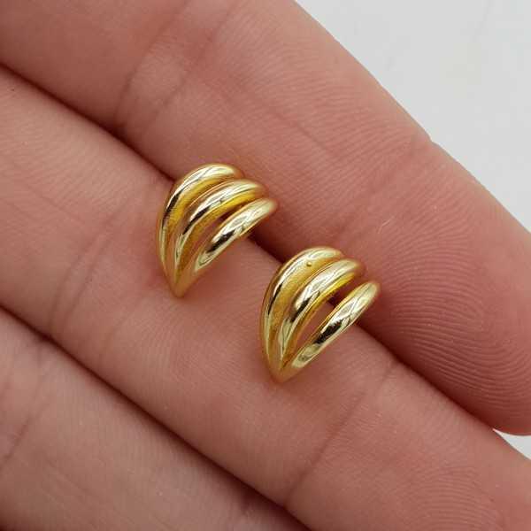 Goud vergulde triple layer hoops oorknoppen