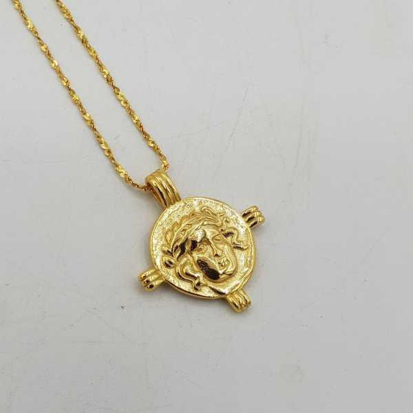 Goud vergulde ketting met Romeinse munt hanger